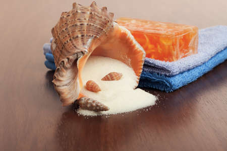 bath accessories - handmade soap, towels and salt photo