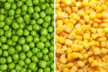 canned peas: composition of peas and corn
