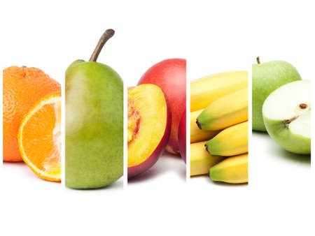 compositopn of different fruit over white background photo