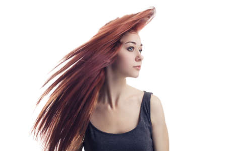 girl with flying hair isolated over white background Stock Photo - 15531188