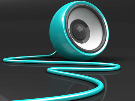 cyan speaker with cable over grey background photo