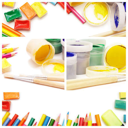 composition of multicolored drawing instruments on white background photo