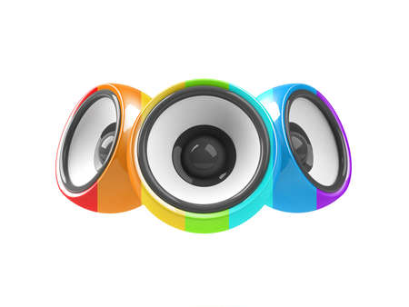 sonorous: multicolored audio system isolated on white background Stock Photo