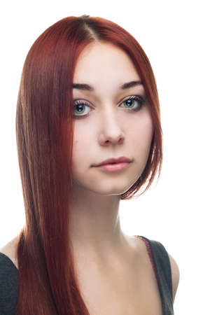 portrait of young red-haired woman isolated over white background Stock Photo - 15785943