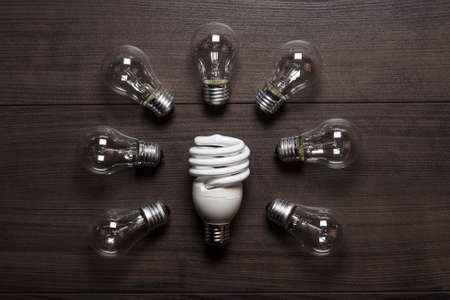 energy saving lamp and glow lamps concept Stock Photo - 16712298