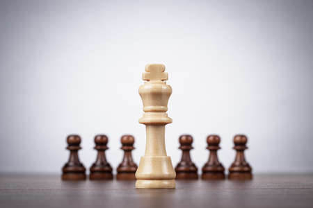 chess game: chess leadership concept over grey background
