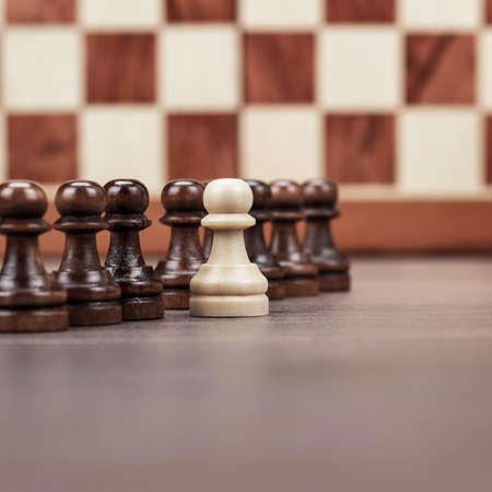 move ahead: chess leadership concept on the chessboard background Stock Photo