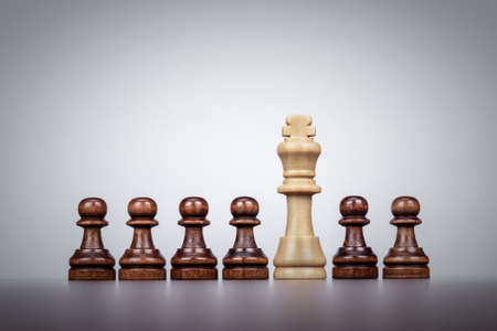 chess king leadership concept over grey background photo