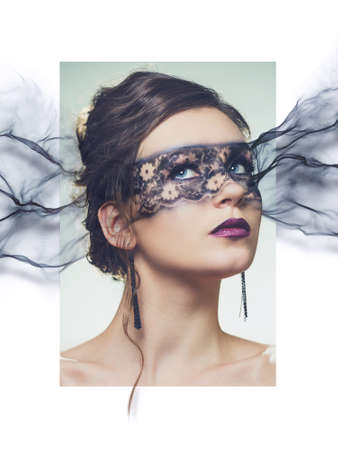 composit: stylized portrait of young elegant woman with disappearing make-up mask