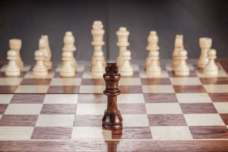 move ahead: chess leadership conception on the wooden chessboard Stock Photo
