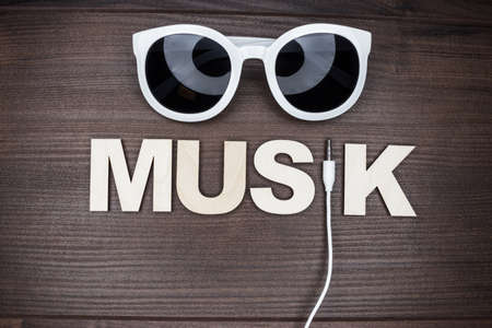minijack: modern music concept on the wooden background Stock Photo