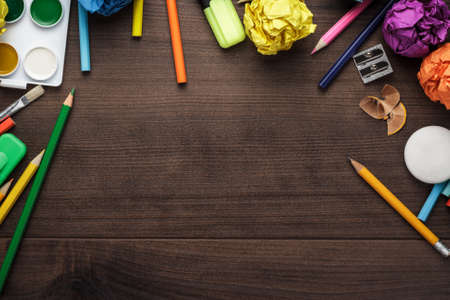 colorful still life: school supplies with copy space on the table