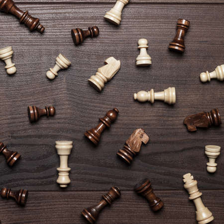 woden: chess figures on the brown woden table