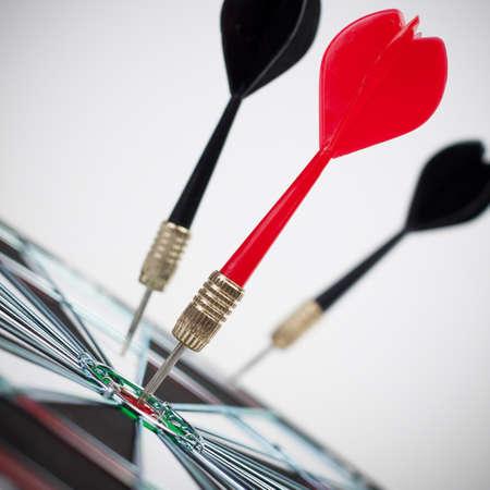 bullseye: dart hit the dead centre of the target Stock Photo