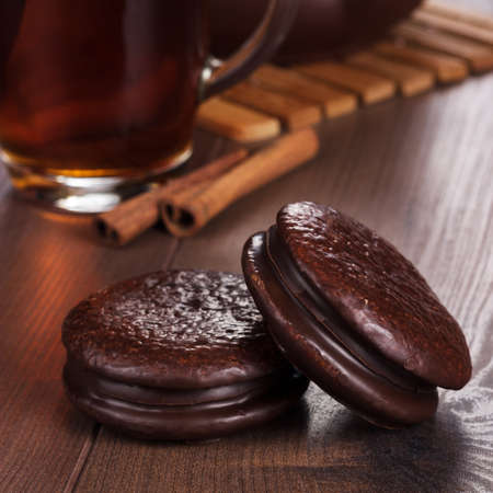 teatime: chocolate cookies on the table teatime concept Stock Photo