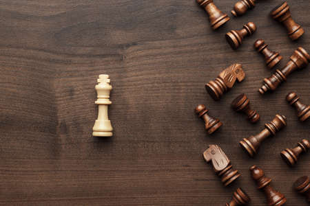 different strategy: chess uniqueness concept on the wooden background Stock Photo