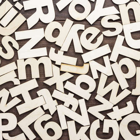 lowercase: uppercase and lowercase wooden letters on the table