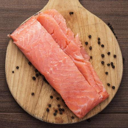 hardboard: salted trout on the hardboard kitchen table