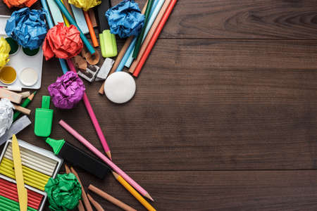 blank background: school supplies with copy space on the table