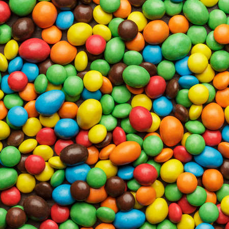 overturn: many colorful sweets on the table background Stock Photo