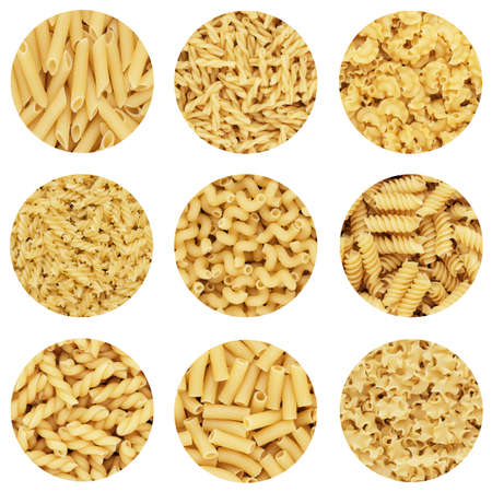 short pasta: different dry uncooked pasta abstract design composition on white background Stock Photo