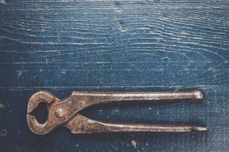 holdfast: old rusty tongs on blue wooden background