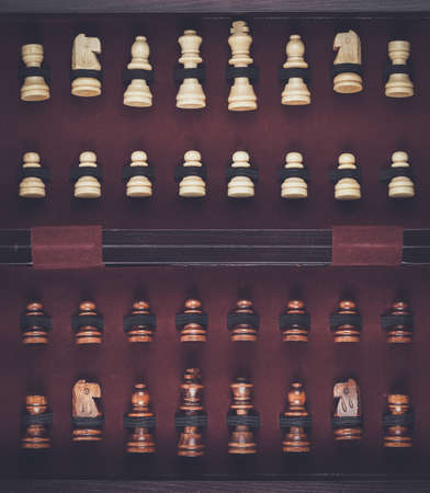 chessmen: chessmen in the box Stock Photo