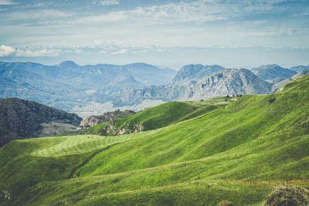 blue green landscape: summer mountains green grass and blue sky landscape