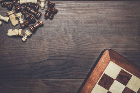 woden: chess board and figures on woden background Stock Photo