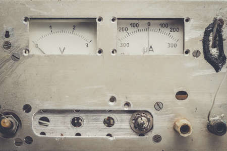 analogue: old homemade analogue voltmeter and amperemeter panel Stock Photo