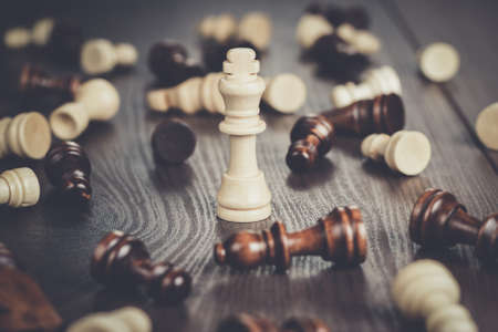 chess winning concept on the wooden background
