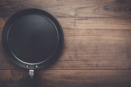 pan: big frying pan on the table background