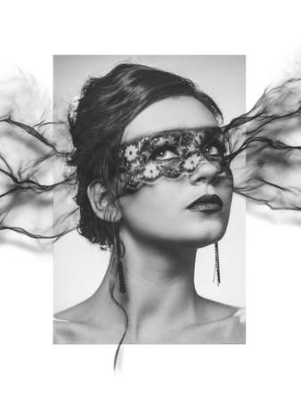evaporate: stylized portrait of young elegant woman with disappearing make-up mask