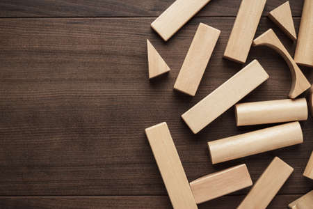 wooden toy: wooden building blocks toy on the table Stock Photo
