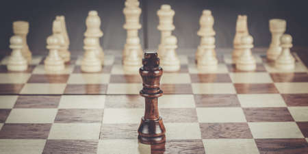 business plan: chess leadership conception on the wooden chessboard Stock Photo