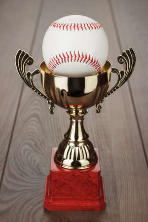 golden baseball trophy cup on the wooden table