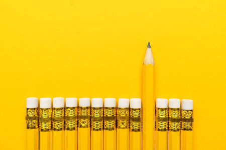 yellow pencils with erasers. leadership concept