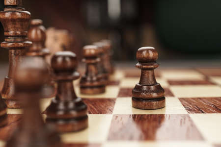 chess leadership concept on the chessboard background Stock Photo