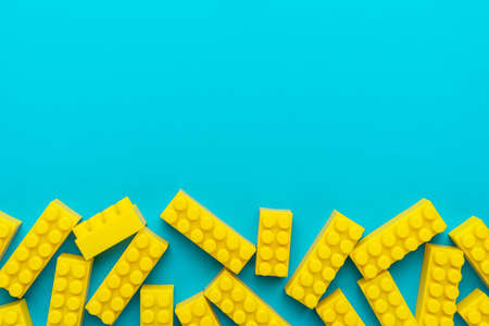 Top view of yellow plastic blocks