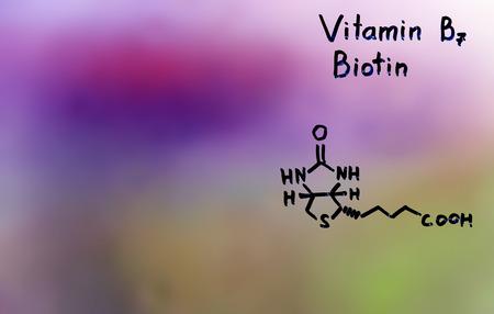 drowsiness: vitamin B7 formula vitamins Stock Photo