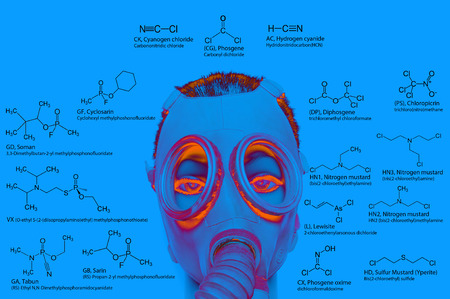 acetylcholinesterase: Chemical weapons chemical structures: sarin tabun soman VX lewisite mustard gas tear gas chlorine etc. Atoms represented as conventionally colored circles.