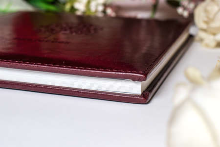 Hardcover wedding photo book in eco-leather cover