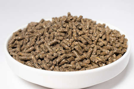 Compound feed for rabbits in a plate on a white background. Rabbit food, balanced pet food. Meals for meat rabbits