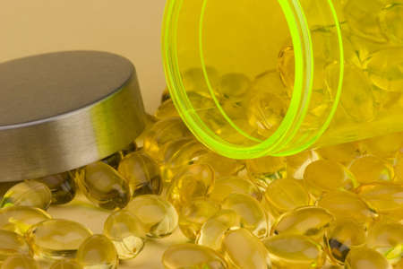 primrose oil: Close up of fish oil - evening Primrose oil, a Healthy supplement . Stock Photo