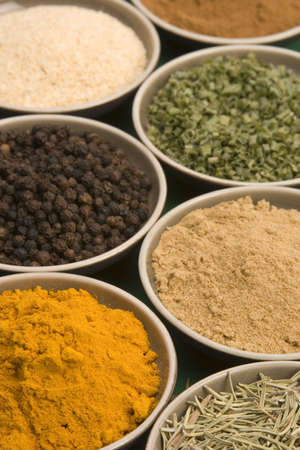 Spice bowls against a plain background. Stock Photo - 687593