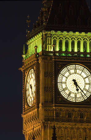 Big Ben at the Houses of parliament, London at night. Stock Photo