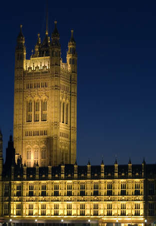 The Houses of Parliament, London at night. photo