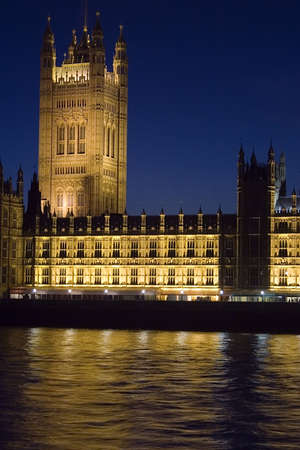 The Houses of Parliament, London at night.
