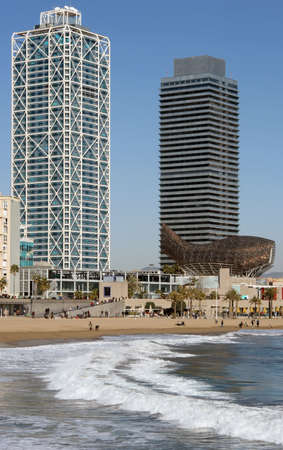Buildings of the Port Olympic, Barcelona. Stock Photo