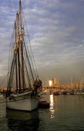 A tall ship docked in Barcelona